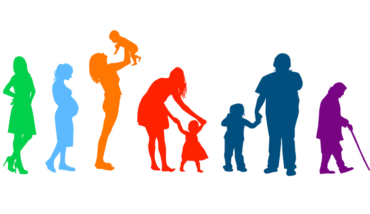 Silhouettes of people. The cycle of life. Vector